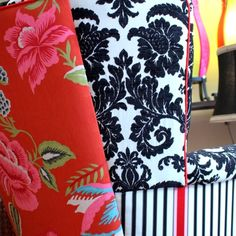 Upholstered Vintage Arm Chairs Repurposed In Red White And Black Designers Guild Fabric