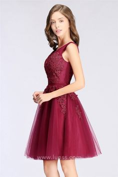 77b68e9746a Wine Lace Appliqued Tulle Short A-line Cocktail Homecoming Dress