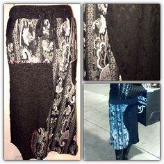 Black & White Paisley skirt with lace accents. Buttons & accents of detail stitching.  Shannasthreads.com