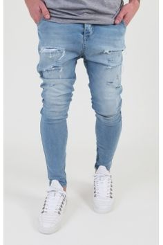 Sik Silk - Distressed Drop Crotch Jeans - Blue