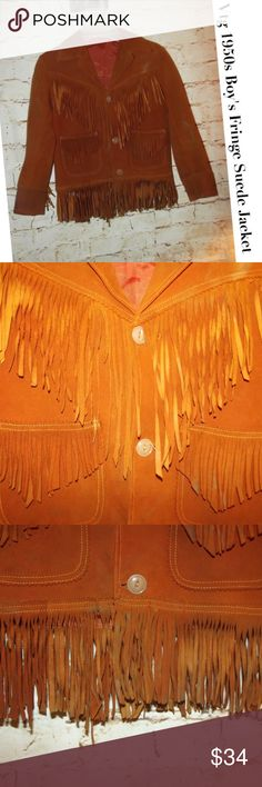 """Vintage RARE 1950s Boy's Fringe Suede Jacket In good condition. It does have some marks, not sure if they will come out. See pics. It's not as noticeable when wearing but in the light you can see them....like something got on the jacket. For this age it's still in good shape. I picked this up at an Estate Sale. It would be perfect for a play or dress up...or perhaps a festival. It looks to be a size 6/7. Please see measurements. Pit to Pit:  15"""" Shoulder to shoulder: 15""""  Length:   20"""" to…"""