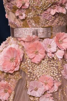 PInk Silk Flowers & Beads Dress Detail .... Elie Saab 2016 Couture ....
