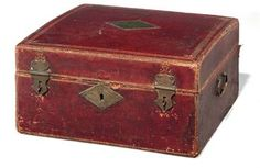 A LATE LOUIS XVI GILT-TOOLED DARK RED LEATHER DOCUMENT BOX