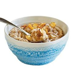 Steel-cut oats and barley soak up water overnight so they're ready to go in the morning. Use a big bowl because the grains will expand.