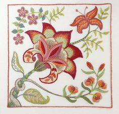 Crewel Embroidery Kit - SCARLET GLORY by FineStitchStudio on Etsy