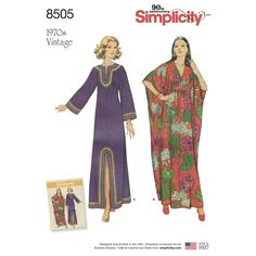 You will feel so comfortable wearing these vintage 1970s ankle-length caftans for Misses! Two distinct styles give you comfort and flattering style. Find this pattern at Simplicity.com.