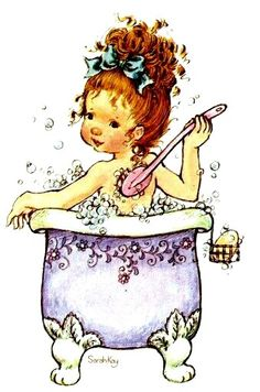 Sarah Kay: Girl taking a bath Sarah Key, Holly Hobbie, Sara Key Imagenes, Cute Images, Cute Pictures, Decoupage, Illustrations, Cute Illustration, Vintage Pictures