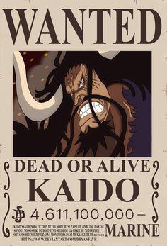 Kaido bounty (One Piece Ch. by bryanfavr on DeviantArt One Piece Anime, Kaidou One Piece, Wanted One Piece, One Piece Figure, One Piece Chapter, One Piece Drawing, One Piece Comic, One Piece Images, One Piece Luffy