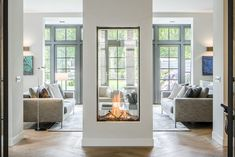 see-through fireplace vertical fireplace designer fireplace modern fireplace modern design