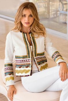 Our textured, collarless white jacket is designed with layers of luxe crochet details and petite pom-pom trim. Its a chic layering piece for the season and beyond. Fully lined vestidos Embroidered Luxe Jacket Mode Abaya, Moda Boho, Embroidered Jacket, Western Outfits, Refashion, Blouse Designs, Mantel, Fashion Dresses, Clothes For Women