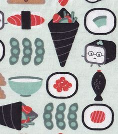 Snuggle Flannel Fabric-Happy Sushi