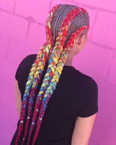 👑 🌈 It's pride month 🌈 All rainbow options are stocked and ready to be shipped 💖 You can mix and match your favorites ❤… Afro Braids, Mens Braids, Cornrows, Box Braids Hairstyles, Summer Hairstyles, Cool Hairstyles, Black Girl Braids, Girls Braids, Braid Styles