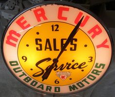 Mercury Outboard Motors Vintage Clock  (Sales & Service, Antique Lighted Pam Clocks)