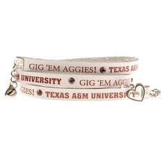 Texas A&M Aggies White Leather Wrap Womens Bracelet | Texas A&M Aggies Womens Bracelet http://www.rallyhouse.com/shop/texas-am-aggies-texas-am-aggies-triple-wrap-white-leather-bracelet-with-crystals-2071043?utm_source=pinterest&utm_medium=social&utm_campaign=Pinterest-TexasAMAggies $30.00