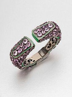 Swoon! M.C.L by Matthew Campbell Laurenza  Enamel Accent Amethyst Cuff Bracelet