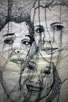Super Ideas For Sewing Art Portrait, Portrait Embroidery, Embroidery Art, Embroidery Designs, Thread Art, Thread Painting, Collages, Collage Art, Francis Picabia, A Level Art