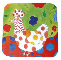 Placemat Farmyard  Bright Chicken Tableware by SheIsAllArt on Etsy, £6.50
