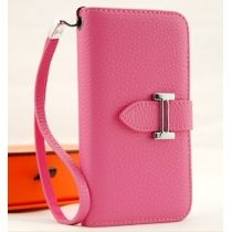pink deluxe genuine leather designer wallet Hermes case for iphone 5 5G