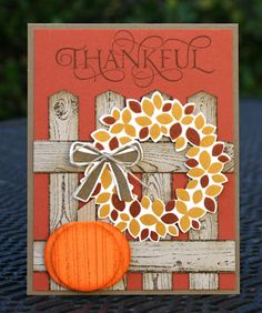 Card by Krystal De Leeuw [Stampin' Up! (stamps) Gorgeous Grunge, hardwood, Six Sayings, Wondrous Wreath] Thanksgiving Cards, Holiday Cards, Christmas Cards, Christmas Colors, Xmas, Wondrous Wreath, Advent, Stamping Up Cards, Halloween Cards