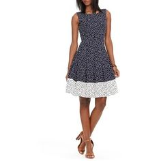 Lauren Ralph Lauren Sleeveless Polka-Dot Dress