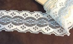 Blue and White  Lace Trim  1 7/16 inch   2 Yards