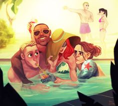 everybody in the pool Captain America fanart by Pati Cmak