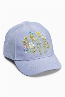Blue Embroidered Cap (Younger Girls)