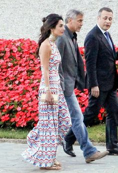 Amal Clooney spotted in a Valentino dress at the Villa d'Este in Cernobbio, Italy.