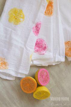 DIY Citrus Stamped Tea Towels!