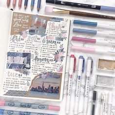 Get the perfect messy scrapbook look in your bullet journal. If you have been drooling over travel journals then you need to see this! Bullet Journal Hacks, Bullet Journal Notebook, Bullet Journal Themes, Bullet Journal Inspiration, Journal Ideas, Bullet Journals, Scrapbook Online, Scrapbooking Stickers, Scrapbooking Layouts
