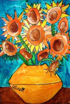 A great fall art lesson.  Bring in real sunflowers and have the students draw them and then later paint.