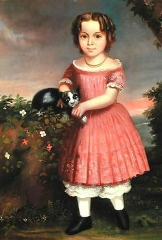 Charles Winter Portrait of a Child Stroking a Cat 1851#Repin By:Pinterest++ for iPad#