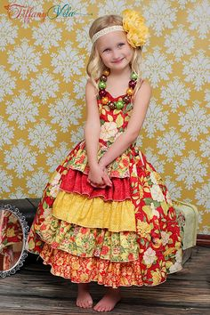Penelope's Princess Ruffle Dress PDF Pattern sizes 6-12 months to 8