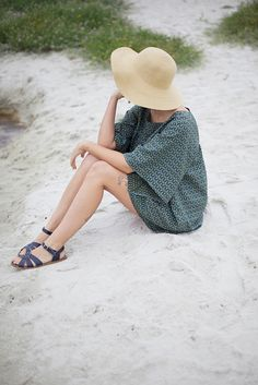 sandals + summer dress + hat love