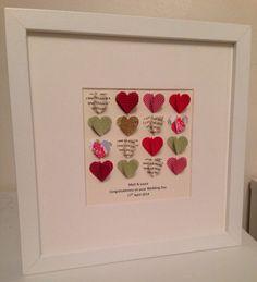Personalised Handmade Bespoke Wedding Hearts 3D Keepsake Box Frame