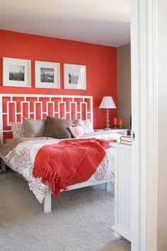 #coral, #headboard, #artwork, #bedroom, #paint-color, #bed, #walls