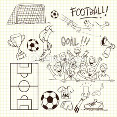 Vector illustration of football theme in doodle style Soccer Theme, Soccer Art, Football Themes, Football Art, Youth Soccer, Doodle Patterns, Card Patterns, Outline Drawings, Cute Drawings