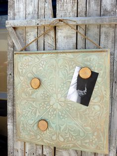Repurposed items are really creative...love this magnetic board!