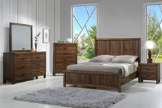 """Belmont 5 Piece Bedroom Suite $999.00 Queen Contemporary rustic styling with grooved headboard and distressed finishing, Scratch and heat resistant melamine finish on case tops, Paneled headboard, European drawer glides - Smooth and durable, Dust proof bottoms on case pieces Included Pieces: Queen Bed Dresser and Mirror 60"""" x 16"""" x 36""""H / 40"""" x 1.4"""" x 36""""H Chest of Drawers 34"""" x 16"""" x 48""""H Night Stand 22"""" x 16"""" x 22""""H C/M B3100-WD"""