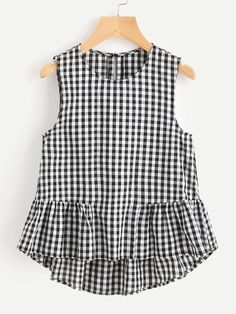 Young Gingham Peplum Regular Fit Round Neck Sleeveless Black and White Buttoned Keyhole Tiered Hem Gingham Shell Top Vestido Crop Top, Crop Top Dress, Sleeveless Crop Top, Peplum Blouse, Kids Fashion, Fashion Outfits, Women's Fashion, Fashion Clothes, Shell Tops