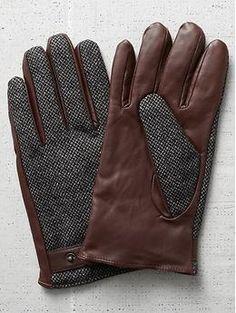 Scotch & soda men's leather tweed gloves: