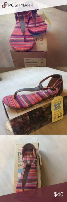 TOMS Playa Sandals Brand shiny new with tag and box. Color is brown leather woven. TOMS Shoes Sandals