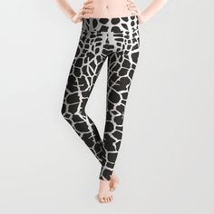 Black and white backgrounds giraffe - abstraction Leggings by vladimirceresnak Black And White Background, Tights, Leggings, Polyester Spandex, Giraffe, Construction, Comfy, Animal, Abstract