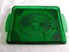 Vintage Emerald Green Glass Vanity Pin Tray Fans Beads  offered by Ruby Lane shop Saltymaggie's Treasures