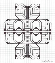 Graph Paper art made by myself Gepind vanaf Graph Paper Drawings, Graph Paper Art, Sacred Geometry Symbols, Geometry Art, Blackwork Patterns, Zentangle Patterns, Zen Wallpaper, Grafic Art, Paper Art Design