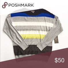 NWT Vince Camuto lightweight striped sweater Brand new with tags! Lightweight crew neck sweater from Vince Camuto, size XS. Striped are stacked for a 3D tiered effect. Vince Camuto Sweaters Crew & Scoop Necks