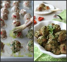 Baked Caprese Turkey Meatballs with Sun-dried Tomatoes, Mozzarella and Basil Pesto