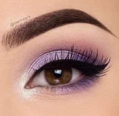 Make-up inspiration, tutorials, step-by-step make-up for all kinds of . - Make-up - Eye Makeup Makeup Eye Looks, Purple Eye Makeup, Full Face Makeup, Eye Makeup Tips, Makeup Goals, Skin Makeup, Makeup Inspo, Eyeshadow Makeup, Purple Makeup Looks