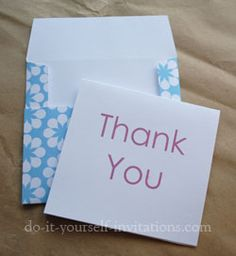 I am so into making my own cards right now. These are some great ideas, to compliment my fabulous DIY card book I got for my birthday! How To Make An Envelope, Diy Envelope, Diy Cards, Your Cards, Printable Thank You Cards, Make Your Own Card, Scrapbook Cards, Scrapbooking, Card Book