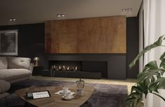 Gas Fire Feature wall, 3 sides of visible glass. Fireplace Feature Wall, Modern Fireplace, Fireplace Design, Fireplace Showroom, Fireplace Remodel, Foyers, Camino Design, Ideas Decoracion Salon, Modern Contemporary
